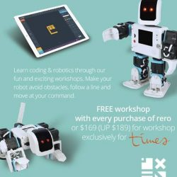 [Times bookstores] Learn Coding and Robotics Purchase a Rero and attend a free Coding and Robotics workshop. Check in-store for details. #