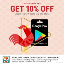 [7-Eleven Singapore] Just because it's the lunar new year! We have a special promotion for Google Play Gift Cards at 10%
