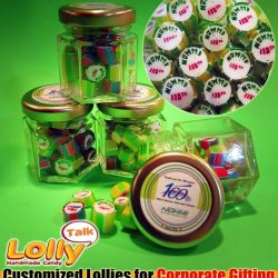 [Lolly Talk] LollyTalk's handcrafted lollies (mixed with readily made THANK YOU lollies) packed into the classic hexagonal bottles for corporate celebration