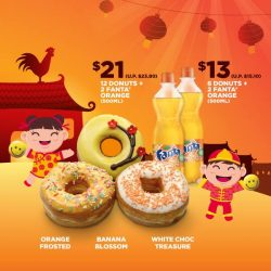 [Dunkin' Donuts Singapore] Fortune smiles upon you with our NEW limited-edition CNY flavors*: Orange Frosted (Orange frosted with sprinkles), Banana Blossom (Banana