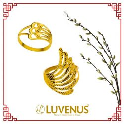[Luvenus] Let your goals and dreams take flight this Chinese New Year with our simple yet elegant 22k gold winged rings.