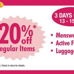 [BHG Singapore] Enjoy 20% off regular items from participating departments TOMORROW till this Sunday 15 Jan!