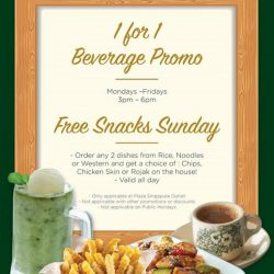 [PappaRich] 1 more hour to redeem your 1 for 1 free beverage for the week! #cometopappa now*only at Plaza Singapura