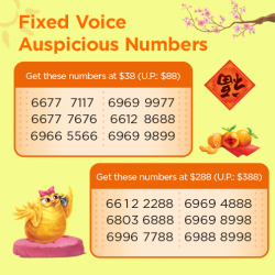 [M1] Usher in the Lunar New Year with an auspicious number for your home or office! Hurry grab your favourite number
