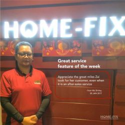 [Home-Fix Singapore] Today, we'll like to thank our staffs, Zai from Home-Fix Ion outlet & Faiz from Home-Fix Lot1 outlet
