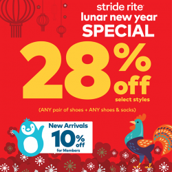 [VivoCity] STRIDE RITE LUNAR NEW YEAR SPECIAL!Take 28% off* selected styles (ANY pair of shoes + ANY item (shoes + socks).Plus,