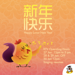 [Teo Heng KTV Studio] Here's wishing everyone a Happy Chinese New Year in advance! :) Our KTV operating hours are as followed: 27 Jan:
