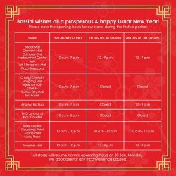 [Bossini Singapore] It's not too late for Lunar New Year shopping! Some of #bossinisg shops remain opened during the festive long