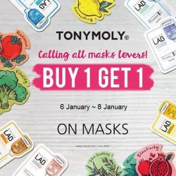 [Tony Moly Singapore] 2017 Tonymoly First 1+1 mask event !  3 days only ! Available at our Jurong Point 2 and Bugis Junction Outlets .