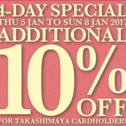 [C.E.D.S Sportswear] LAST CALL!! FOR TAKASHIMAYA CARD MEMBERS. 10% + 10% OFf Great deals not to be missed! Visit our counter @ Takashimaya Level