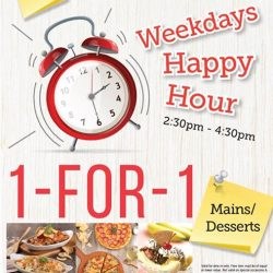[Swensen's] Swensen's Happy Hour!!!!!!Enjoy 1-For-1 Mains/Desserts when you dine-in with us on weekdays between 2: