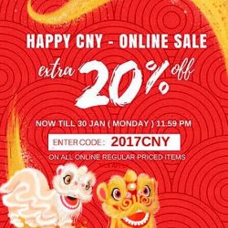 [MOSS] HURRY! 2017 CNY ONLINE SALE GOING END SOON!Extra 20% Off Sale going end Tomorrow ( 30 Jan ) 11.59 pm