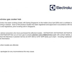 [Courts] Dear COURTS customers,In light of the recent incidents involving Electrolux gas cooker hobs, we would like to bring to
