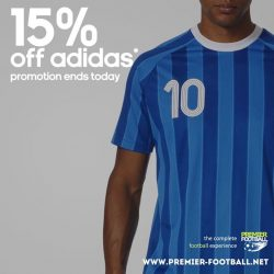 [Premier Football Singapore] 15% off adidas merchandise promotion ends today. Buy a pair of regular price adidas shoes, 1 adidas shoe bag and