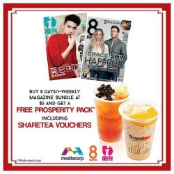 [Sharetea Singapore (歇脚亭)] Sharing free bubble teas with everyone! Grab your Prosperity Pack tomorrow 7.30am at these locations: - Blk 105 Yishun Market