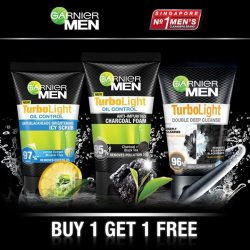 [Watsons Singapore] Control Oil ALL Day with Garnier Men TurboLight Oil Control Cleansers & Scrubs! Now BUY 1 GET 1 FREE at all