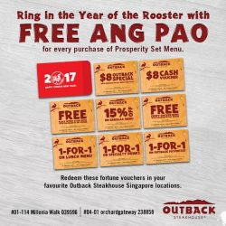 [Outback Steakhouse ] Ring in the Year of the Rooster with FREE ANG PAO for every purchase of Prosperity Set Menu.#OutbackCNY #CNY2017 #
