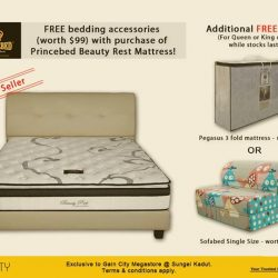 [Gain City] 1 DAY LEFT till the end of this Princebed promotion where you'll receive free gifts and accessories when you