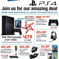 [GameMartz] PS4 1TB Console with a FREE Uncharted 4 Game and Controller Thumb Grips at $479 now. You will also enjoy