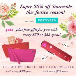 [Ripples] Enjoy 20% off Storewide Online with code: 'FESTIVE20'! Plus, Free Allure Pouch with every $30 spent and Free Kitten Umbrella