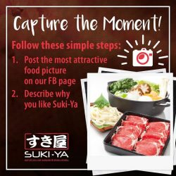 [SUKI-YA] We are putting your photography skills to the test! Simply follow these steps and 2 lucky winners will stand a