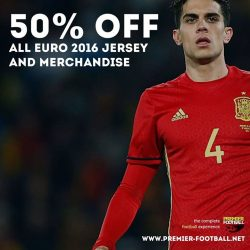 [Premier Football Singapore] 50% off all EURO 2016 jersey and merchandise. Available in stores and online. https://goo.gl/1KF9Dc