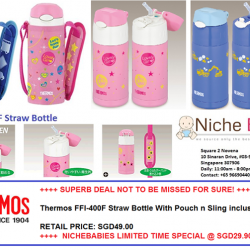 [Nichebabies] OVERWHELMING RESPONSE!! MOVING VERY FAST!!Introducing Thermos FFI-400F Straw Bottle With Pouch n Sling inclusive !++++ SUPERB DEAL NOT TO