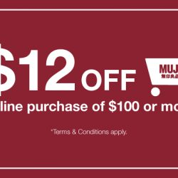 MUJI: Online 2nd Anniversary with $12 OFF Your Purchase!