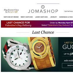 [Jomashop] ❤ Last Chance For Valentine's Day | Ending Soon: IWC • Gucci • Frederique Constant • Diesel • Juicy Couture