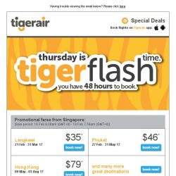 [Tigerair] Tigerflash 48hr sale SNEAK PEEK! Explore Langkawi, Hanoi, Phuket from $35!*