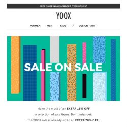 [Yoox] Sale on Sale: EXTRA 15% off a selection of sale items