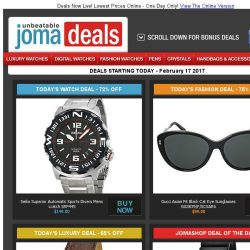 [Jomashop] Seiko Sports Divers $149 | Swiss Military Chrono $199 | Frederique Constant Auto 65% off | Gucci Sunglasses 75% off | Last Chance Deals from Omega & Mido