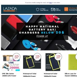[Lazada] HAPPY NATIONAL BATTERY DAY!!  : Chargers Below 20$