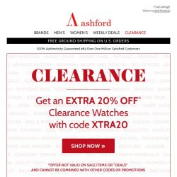 [Ashford] EXTRA 20% off Top Brand watches