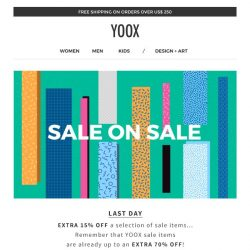 [Yoox] Last day! EXTRA 15% off a selection of sale items