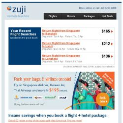 [Zuji] Special offers for you, BQ.sg! 3D2N packages fr $180 only.