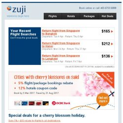 [Zuji] Cities with cherry blossoms on sale fr $263 + extra $50 off!