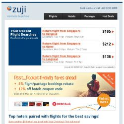 [Zuji] 6 flight + hotel packages you can't miss,  BQ.sg! 3D2N fr $149.