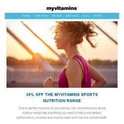 [MyVitamins] #GetTheGains with 30% off our Sports Nutrition Range