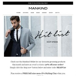 [Mankind] Your second chance to save 20% & receive a free full size men-ü Styling Clay