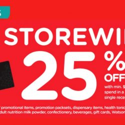 Watsons: Members' Only Sale – Storewide 25% OFF with Min. $38 Nett Spend