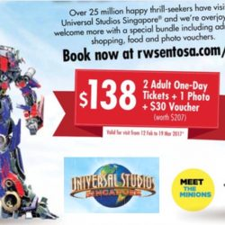 Universal Studios Singapore: Special Bundle Deal of 2 Adult One-Day Tickets + 1 Photo + $30 Voucher (worth $207) at $138 only!