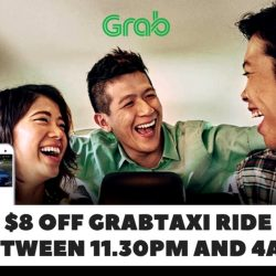 Grab: Coupon Code for $8 OFF Your GrabTaxi Ride Between 11.30pm to 4am