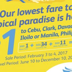 Cebu Pacific Air: 2-Day Sale - Fly to Philippines from as low as SGD1 Base Fare!