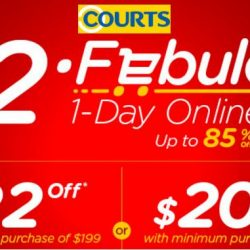 Courts: 22.2 Febulous 1-Day Online Sale - Up to 85% OFF + Up to $202 OFF with Coupon Codes