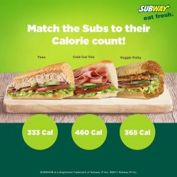 [Subway Singapore] We bring you options with these Subs below 500 calories. Can you match the Subs to their calorie count?Share