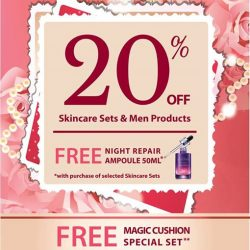 [Missha Singapore] Final Day to receive 20% off Skincare Sets & Men products and a complimentary signature best-selling Night Repair Ampoule (50ml)