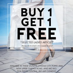 [Bata Shoe Singapore] Buy 1 Get 1 Free on selected Ladies Collection! Enjoy this exclusive promotion at these stores from now till 5th
