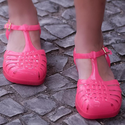 [Melissa] For the more adventurous and young fashionistas, trust your intuition with this hot pink pair, they're easier to dress