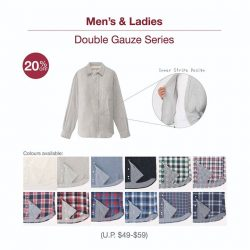 [MUJI Singapore] Organic Cotton Double Gauze Shirt - Soft and comfortable, it feels naturally great against the skin. The stripy inner design contrast